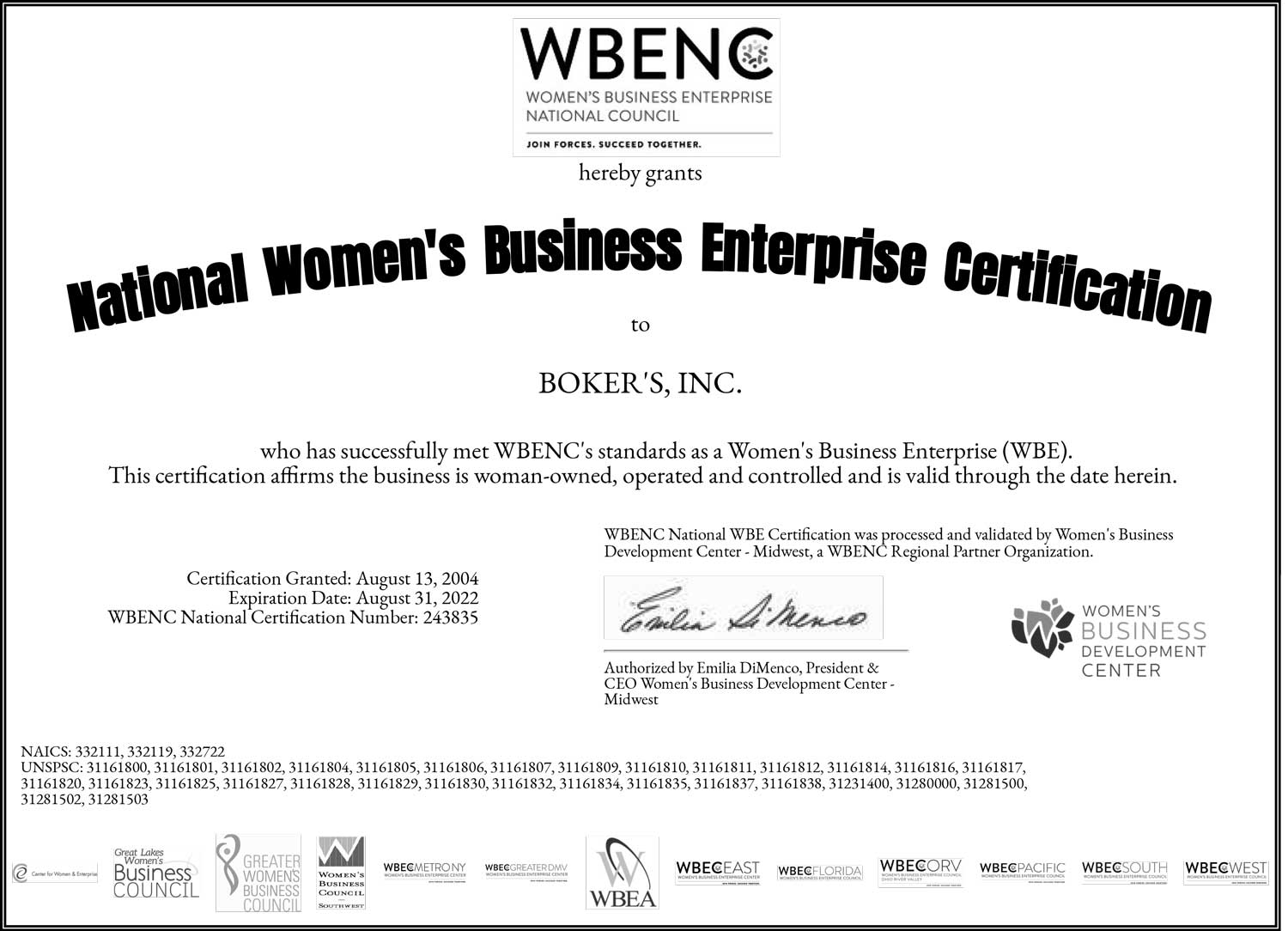 Woman Owned Certificate